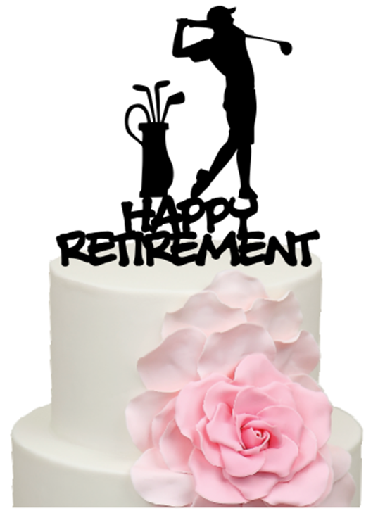 golfer with happy retirement words cake acrylic topper