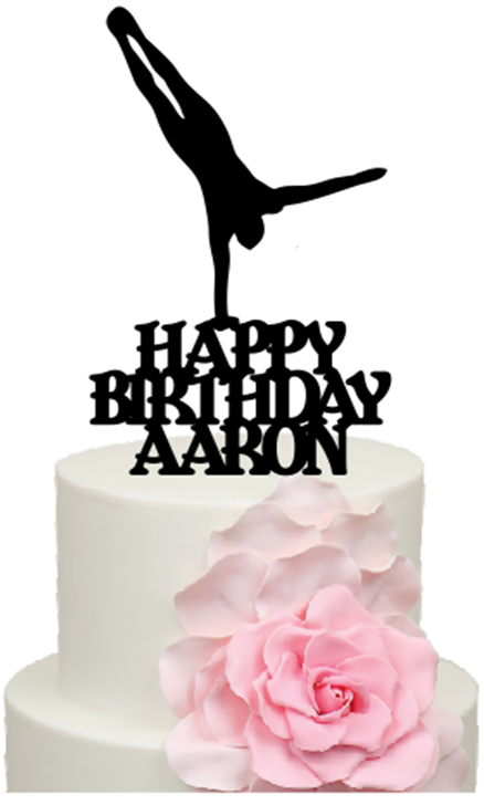 cdf29471fb4d Handstand Gymnast with Personalised name Birthday Cake Acrylic Topper